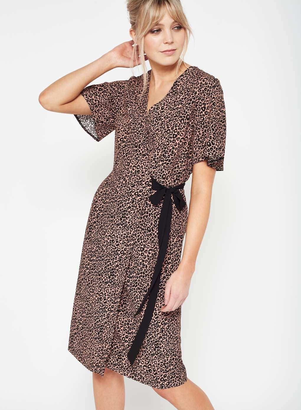 a9e5232f4e Animal Print Wrap Midi Dress