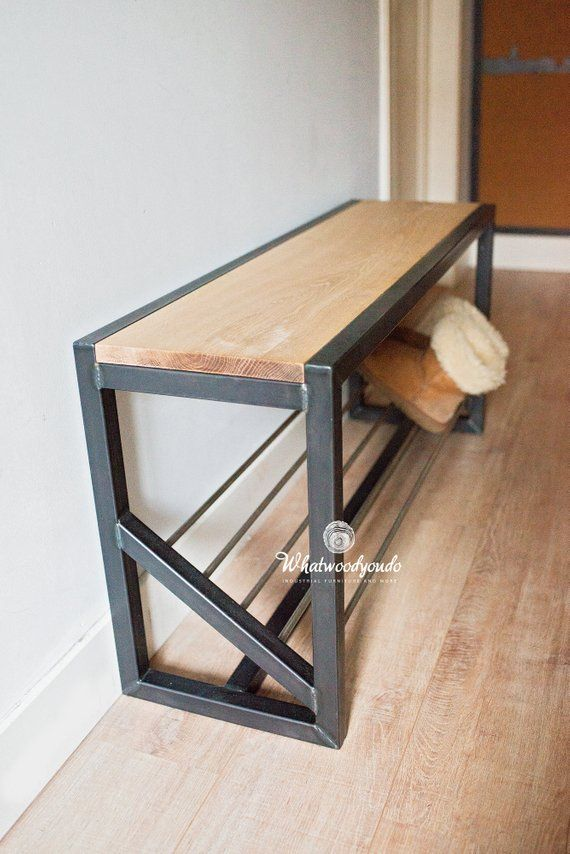 Shoe storage bench | shoe rack | hallway bench | smart storage | Steel and wood #smartstorage