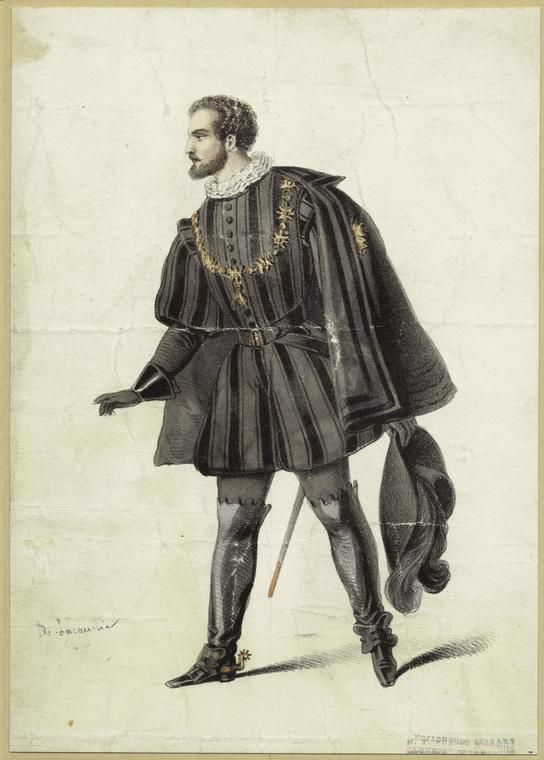 Man in black, France, 16th century historical clothing in 2019