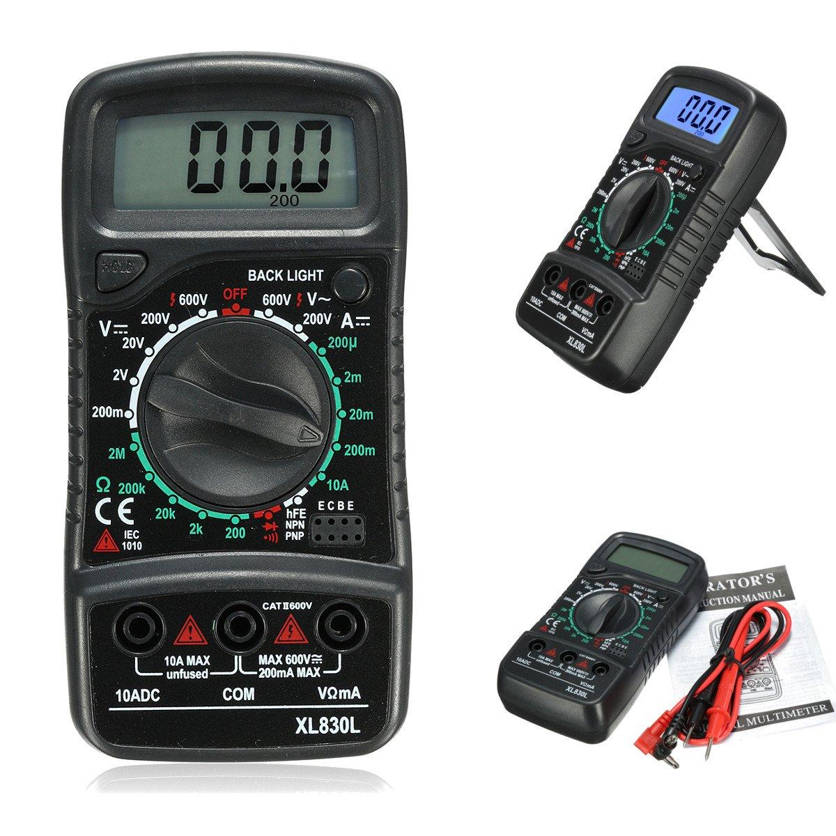 XL830L Digital LCD Multimeter Voltmeter Ammeter AC DC OHM