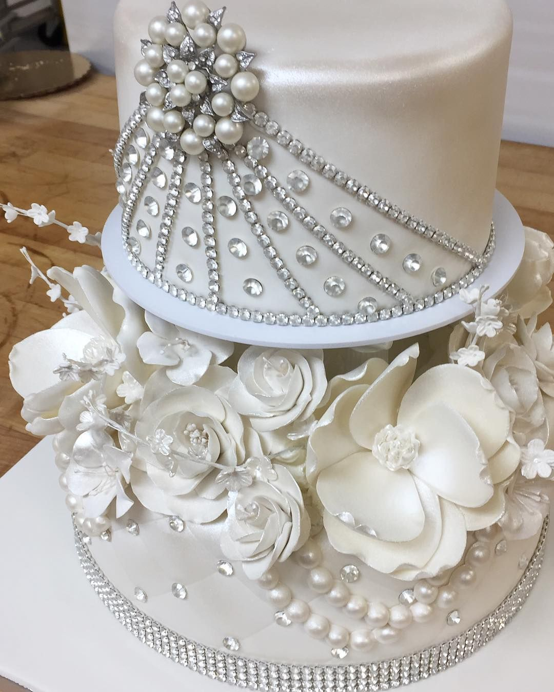 Wedding Cakes With Bling And Flowers