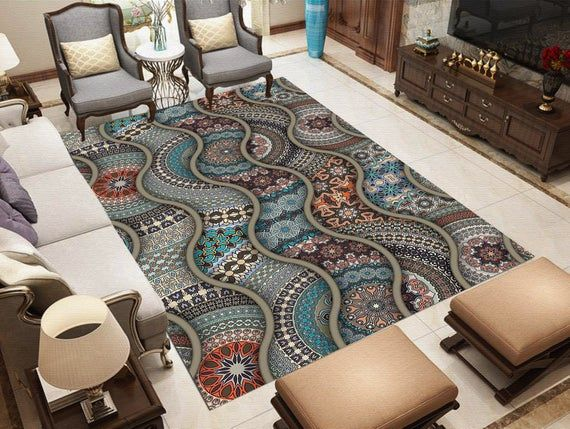 Elegant Wave Patchwork Pattern High Qualityfloor Rug Carpet Etsy Rugs On Carpet Patchwork Patterns Fabric Decor Elegant carpet for living room
