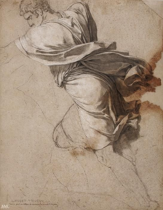 Study for a figure of the murderers of Tatius. 1788.  Anne Louis Girodet Trioson.