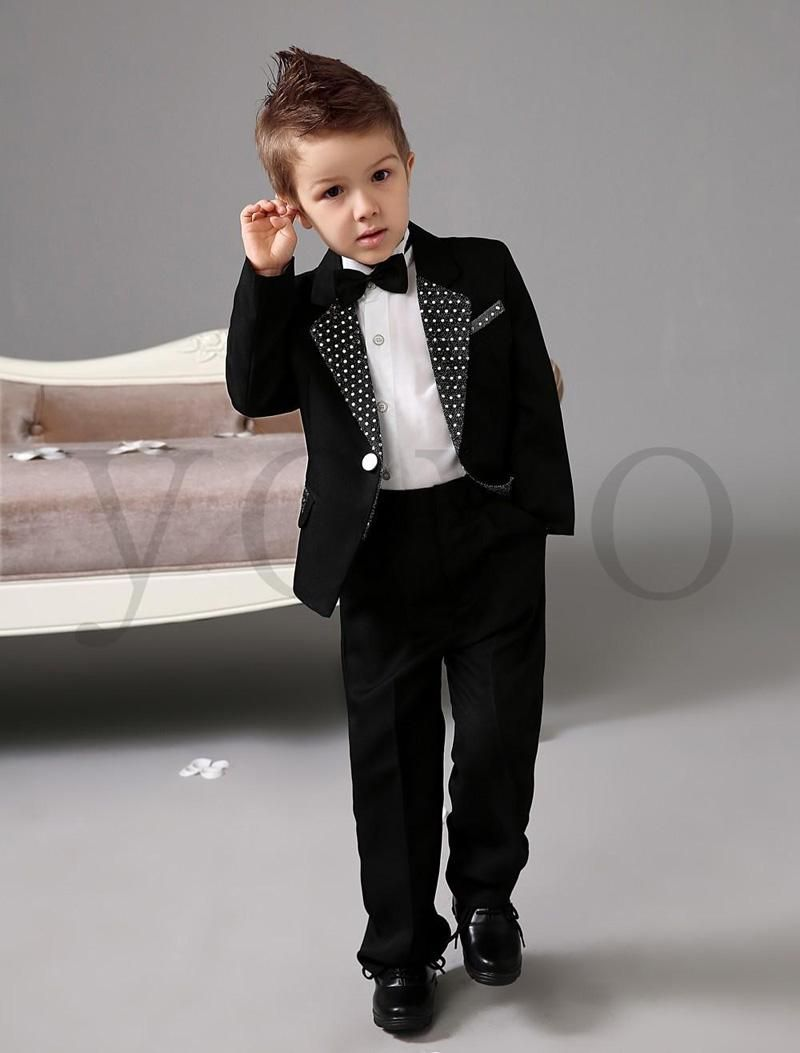 New Black Tuxedos For Wedding Kids Ring Bearer Children Dresses ...