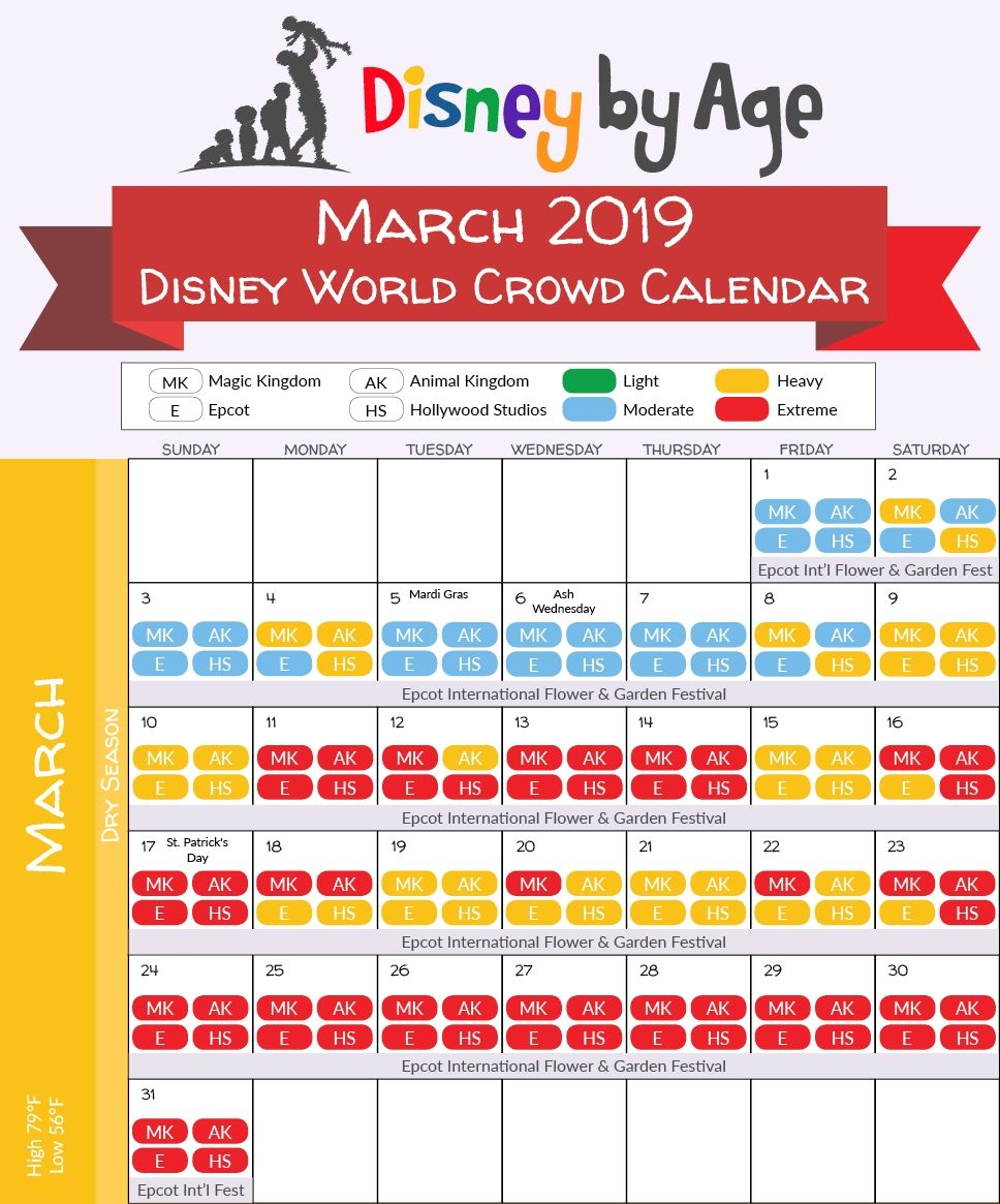 Disney World Crowd Calendar 2018 And 2019 Disney World Crowd