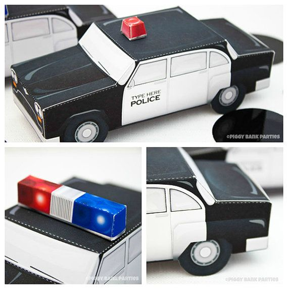 Police Car Favor Box  Print at Home Full-Color Template Cop