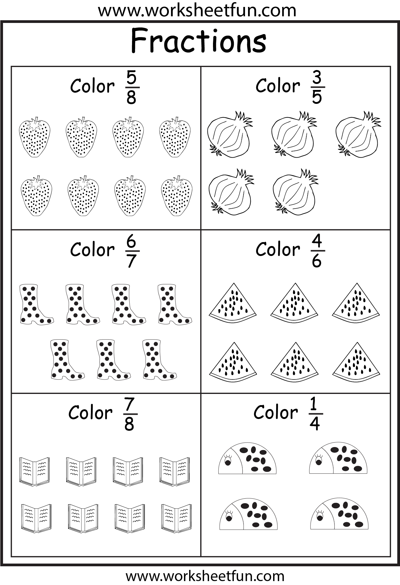 Coloring Fractions – 5 Worksheets   Fractions worksheets [ 1938 x 1324 Pixel ]