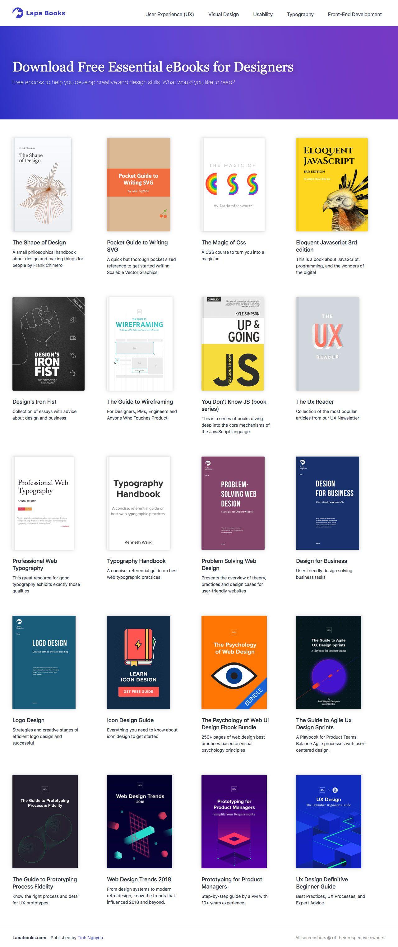 Lapa Books Download Free Essential Ebooks For Designers Landing Page Design Page Design Best Landing Page Design