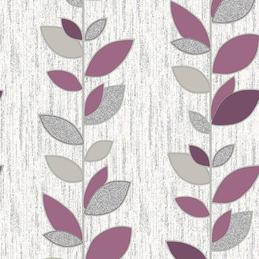 Crown Wallpaper / Synergy Leaf Plum / M1374 Plum