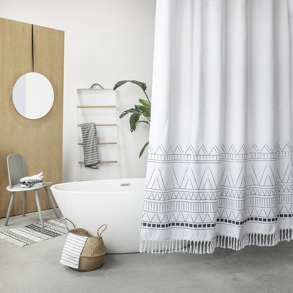 Make Your Bathroom From Drab To Fabulous With This Boho Tribal Shower Curtain With Tassels Fea Modern Shower Curtains Boho Shower Curtain White Shower Curtain
