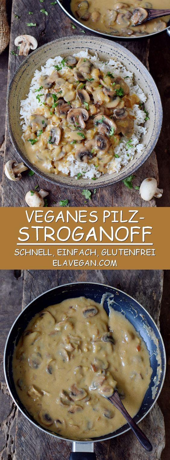 Pilz Stroganoff mit Reis. Dieses leckere Gericht ist glutenfrei, vegan, cremig und einfach zu machen. Perfekt als Mittagessen oder Abendessen! #vegan #stroganoff #glutenfrei #abendessen #mittagessen | elavegan.com/de #veganerezeptemittag