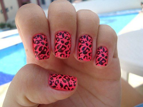 Hot Pink Leopard Print Nails Poolside Manicure Nailart With Images Pink Leopard Nails Cheetah Nail Designs Leopard Nails