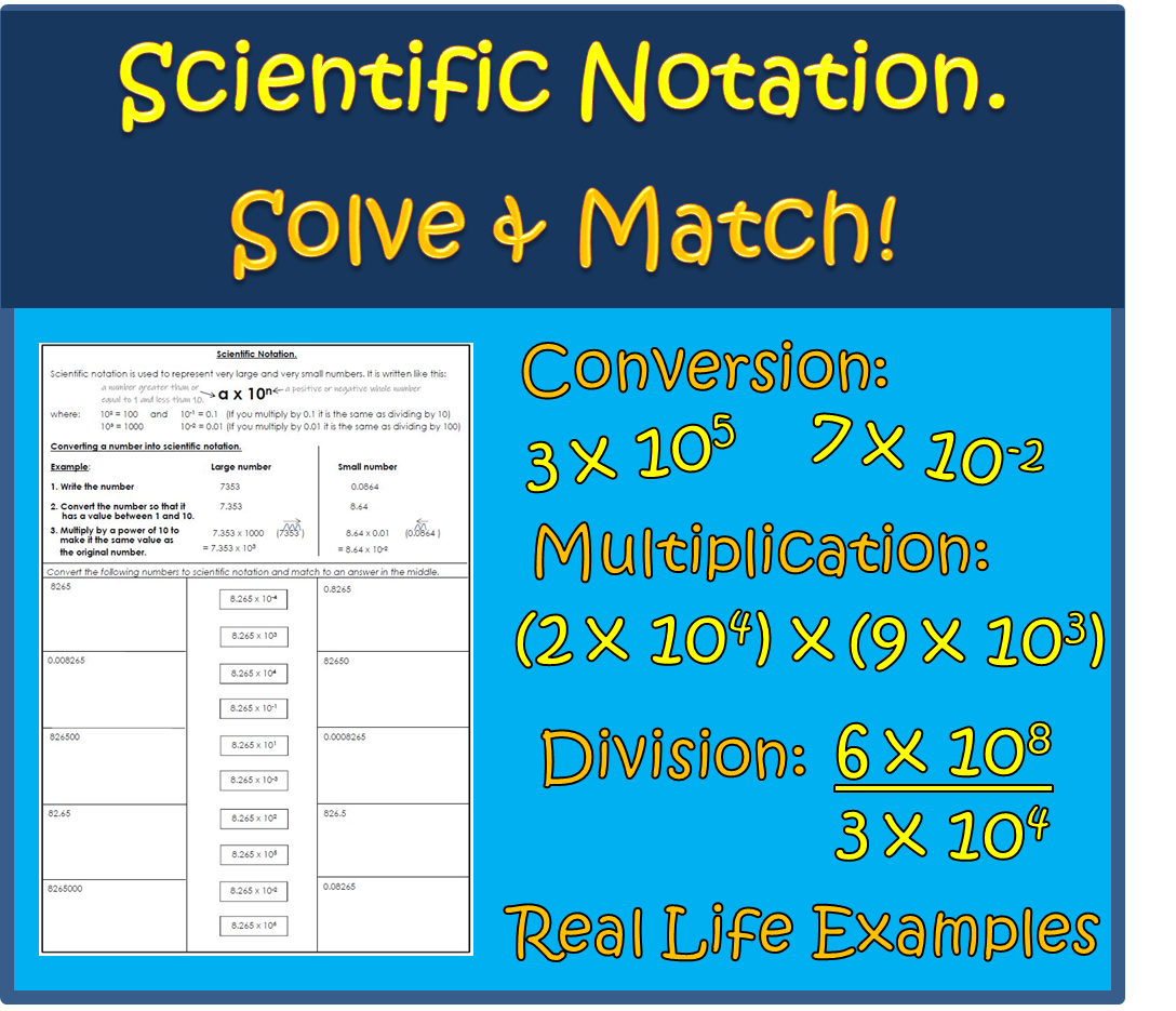 Scientific Notation Worksheet Activity