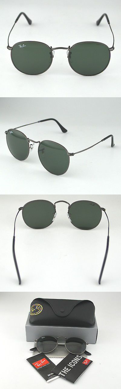 8d562f2201be9 Sunglasses 155189  Ray Ban Rb3447 Round Metal 029 Gunmetal Frame Green  Classic G-15