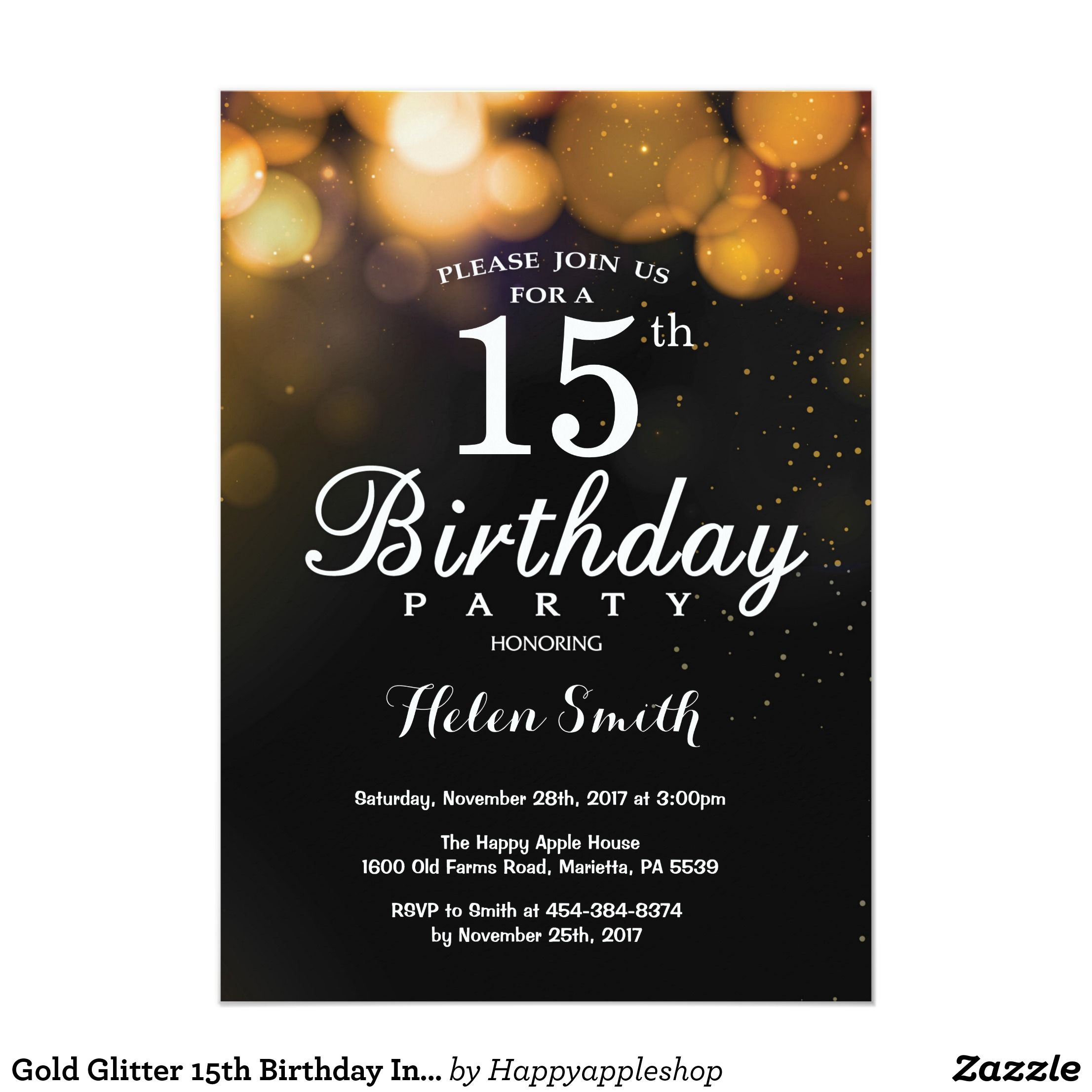 Gold Glitter 15th Birthday Invitation Card Comfy Men S Tank