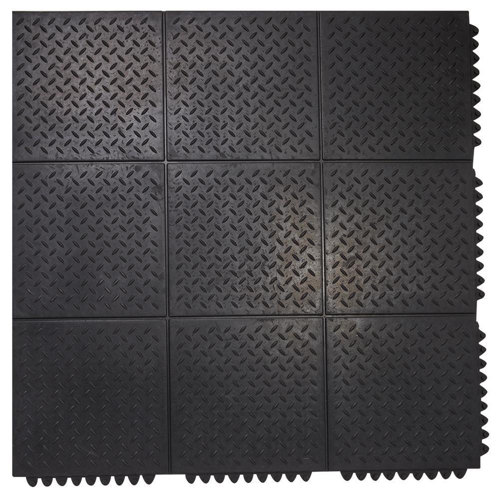 Envelor Durable Anti Fatigue Interlocking Commercial Solid 37 In X 37 In Rubber Floor Mat En Rm 21520 Rubber Flooring Rubber Floor Mats Flooring