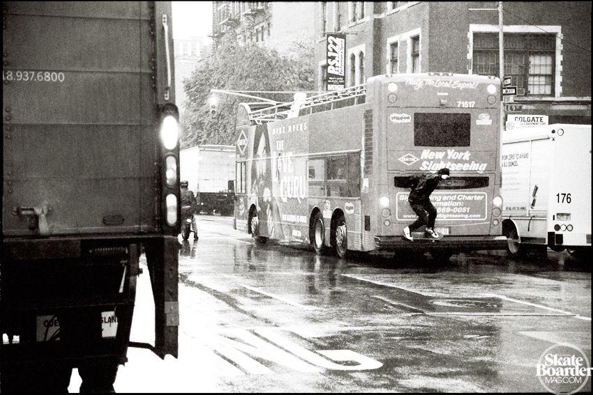 Anthony Pappalardo, 5050 on a moving bus in the rain. Photo by John Bradford.