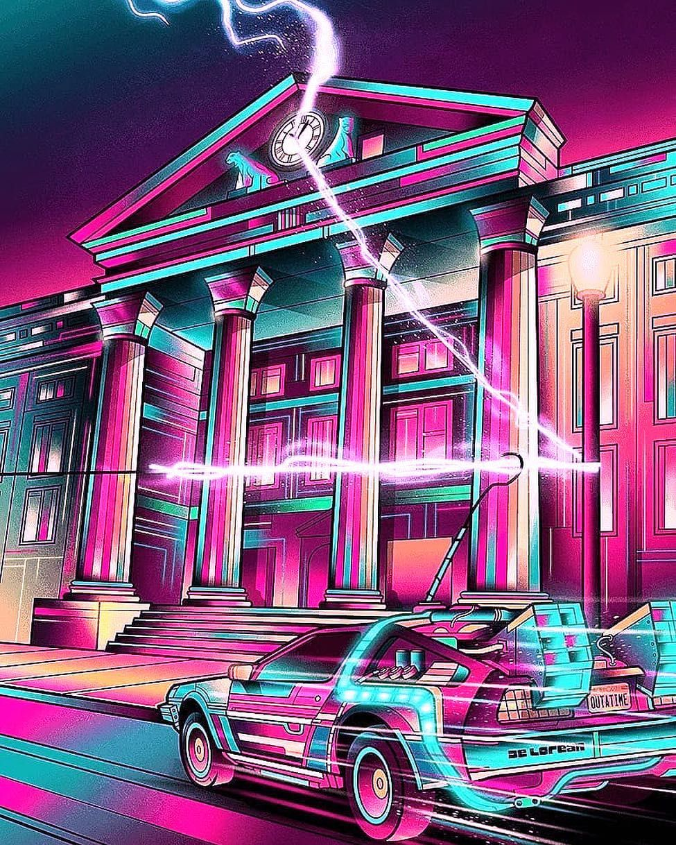 Back To The Future Digital 3d Art Artwork Delorean Time Travel Traveller Synthwave Back To The Future Retro Futurism