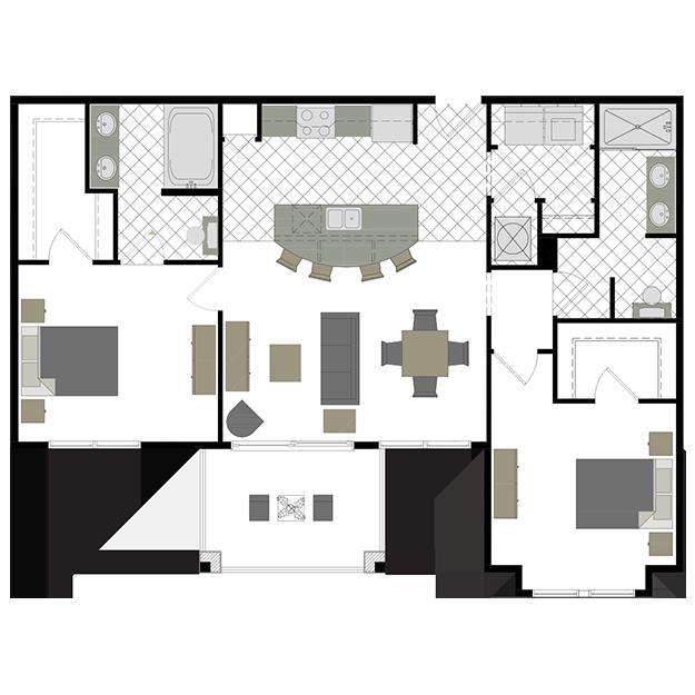The Oxford 2 bedrooms, 2 bathrooms Floor plans