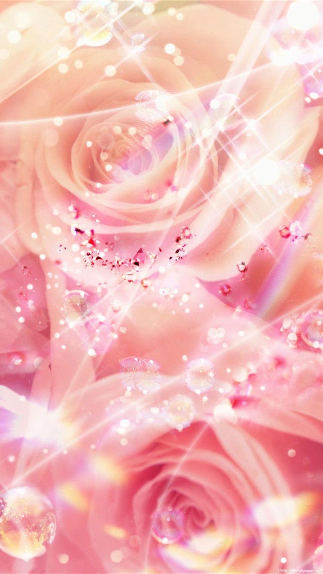 1080x1920 Dream Rose Flower Pink Art Wallpapers Hd Flower Wallpaper Rose Gold Wallpaper Rose Gold Glitter Wallpaper