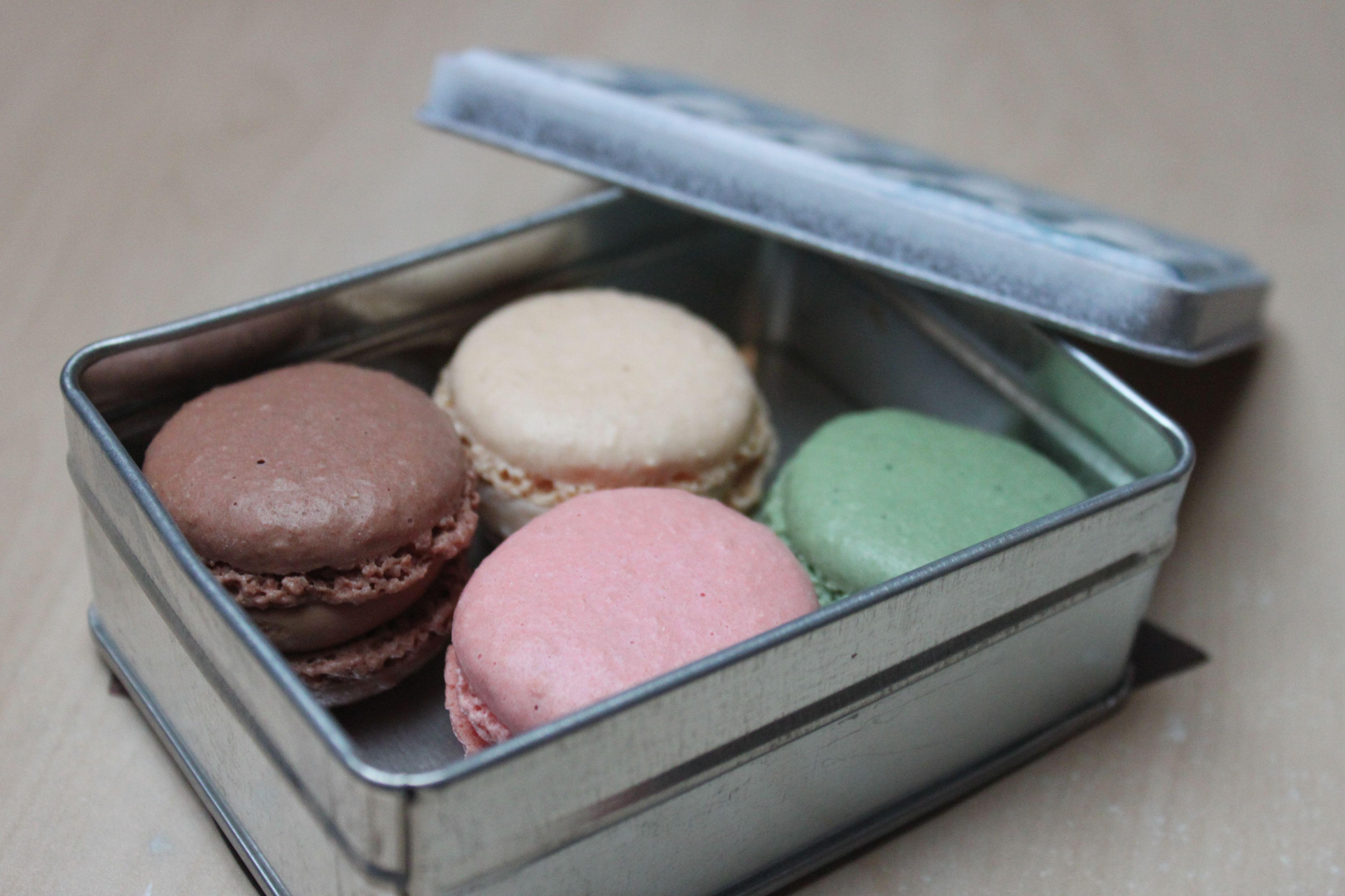 Macarons in a tin box..