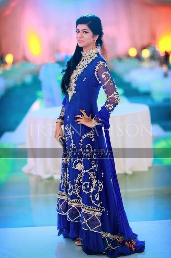 Irfan Ahson Royal Blue Stani Bridal Gown Wedding Outfitsstani