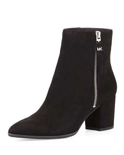 MICHAEL MICHAEL KORS DAWSON SUEDE ANKLE BOOT, BLACK. #michaelmichaelkors #shoes #boots