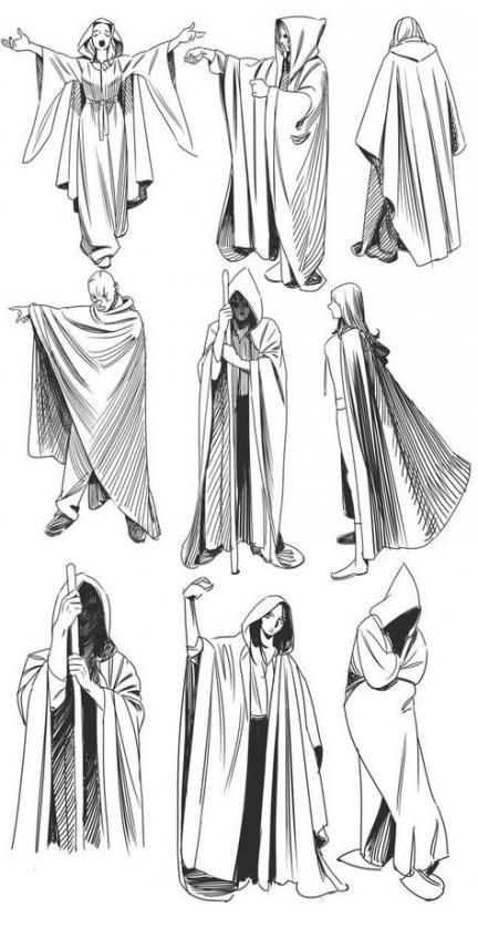 Cape drawing references for character design