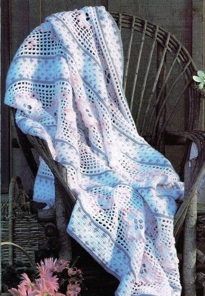 Lacy Flower Afghan Crochet Pattern Blanket Throw Instructions