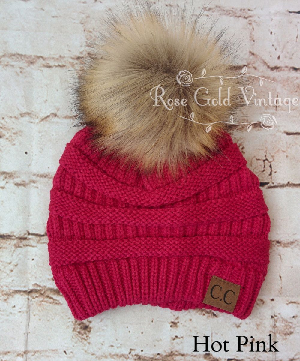 12c21a7e4160a A little twist on the popular CC beanie hats - a faux fur pom pom on ...