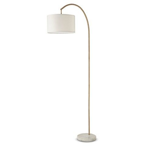 Shaded Arc With Marble Base Floor Lamp Brass Includes Energy
