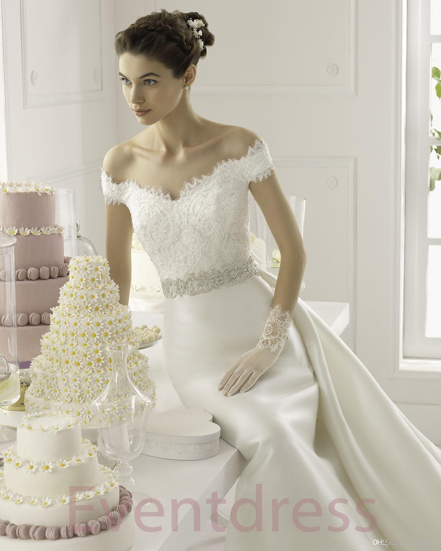 a6ab60c61 2015 A-Line White Satin Wedding Dresses Detachable Train Appliques Beaded  V-neck Sleeveless