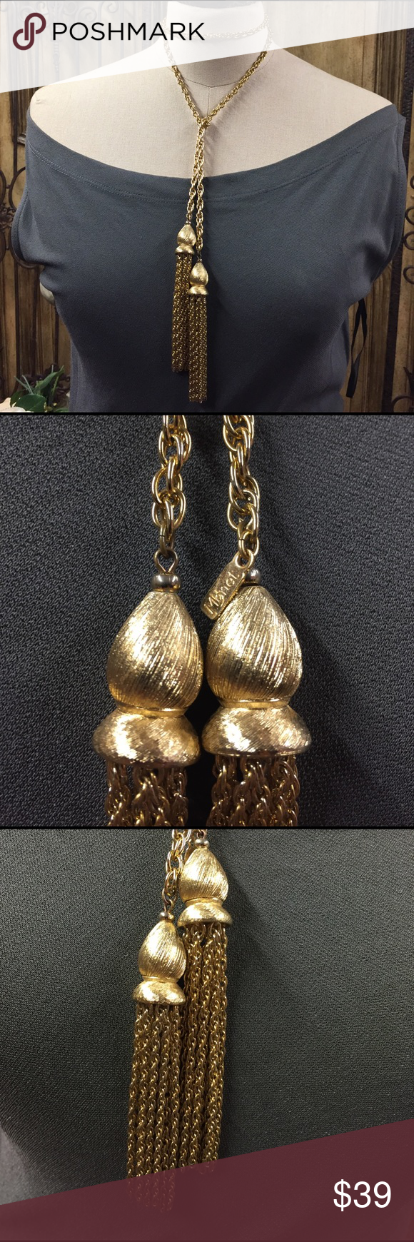 Vintage Monet goldtone long tassel necklace. Vintage Monet necklace is gorgeous. Everyone has loved this & I'm finally ready to let it go. Such elegance & class. Can be worn so many ways. In beautiful condition. Measures 44 inches long to be wrapped in so many interesting ways. A piece of vintage perfection. Monet Jewelry Necklaces