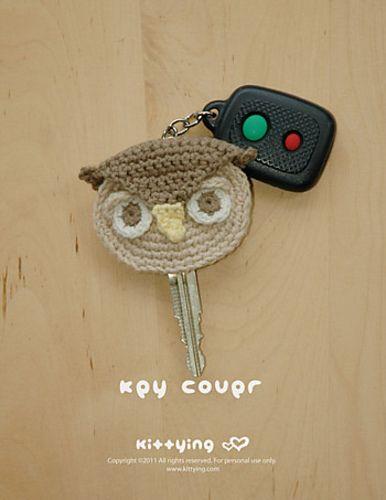 Owl Key Cover pattern by Kittying Ying | Llaveros, Ganchillo y Tejido