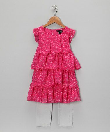 Take a look at this Hot Pink Tiered Tunic & Capri Leggings - Toddler & Girls by Calvin Klein on #zulily today!