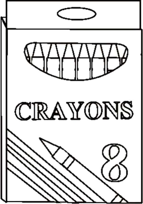 Box Crayons Contain Eight Color Crayons Coloring Pages 600x856 Jpg