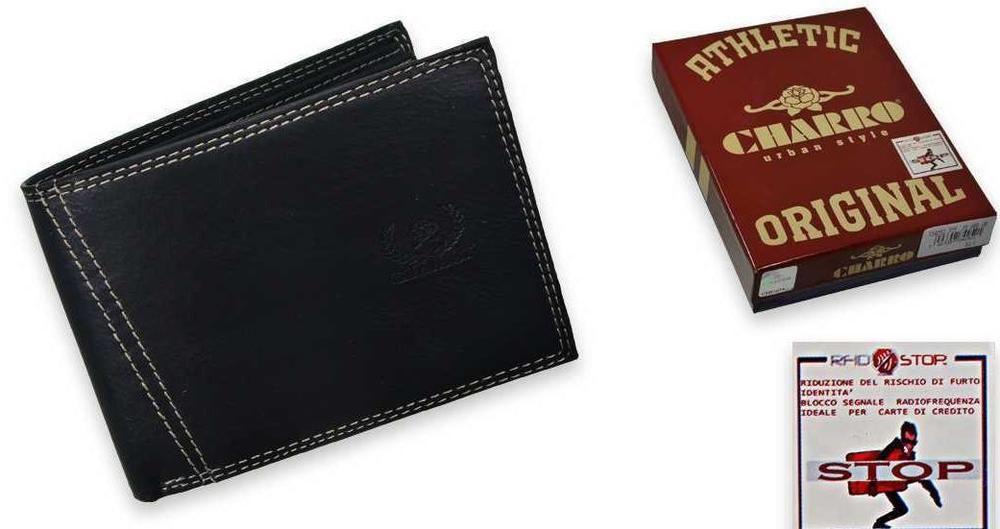 36fa084457 Portafoglio uomo Charro Nero con porta assegni e sistema anticlonazione  carte