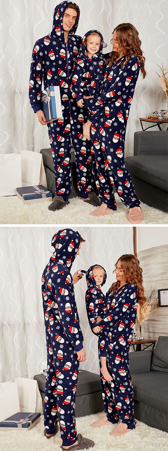 Santa Claus Print Matching Family Christmas Pajama Sets