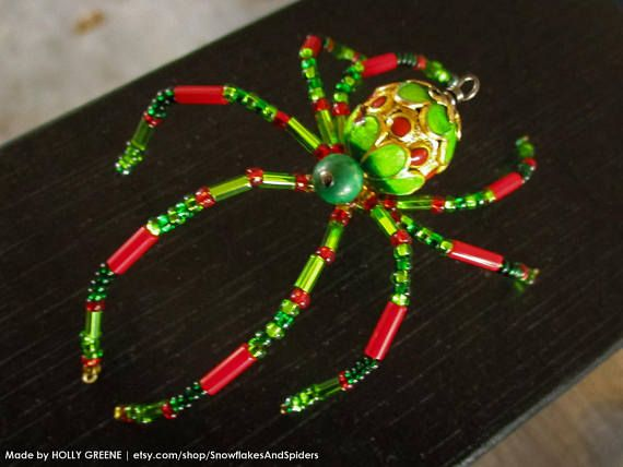 GOLD /& RED CHRISTMAS BEADED SPIDER ORNAMENT