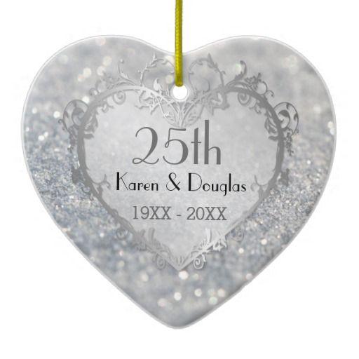 Sparkle Silver Heart 25th Wedding Anniversary Ceramic Ornament 25 Wedding A