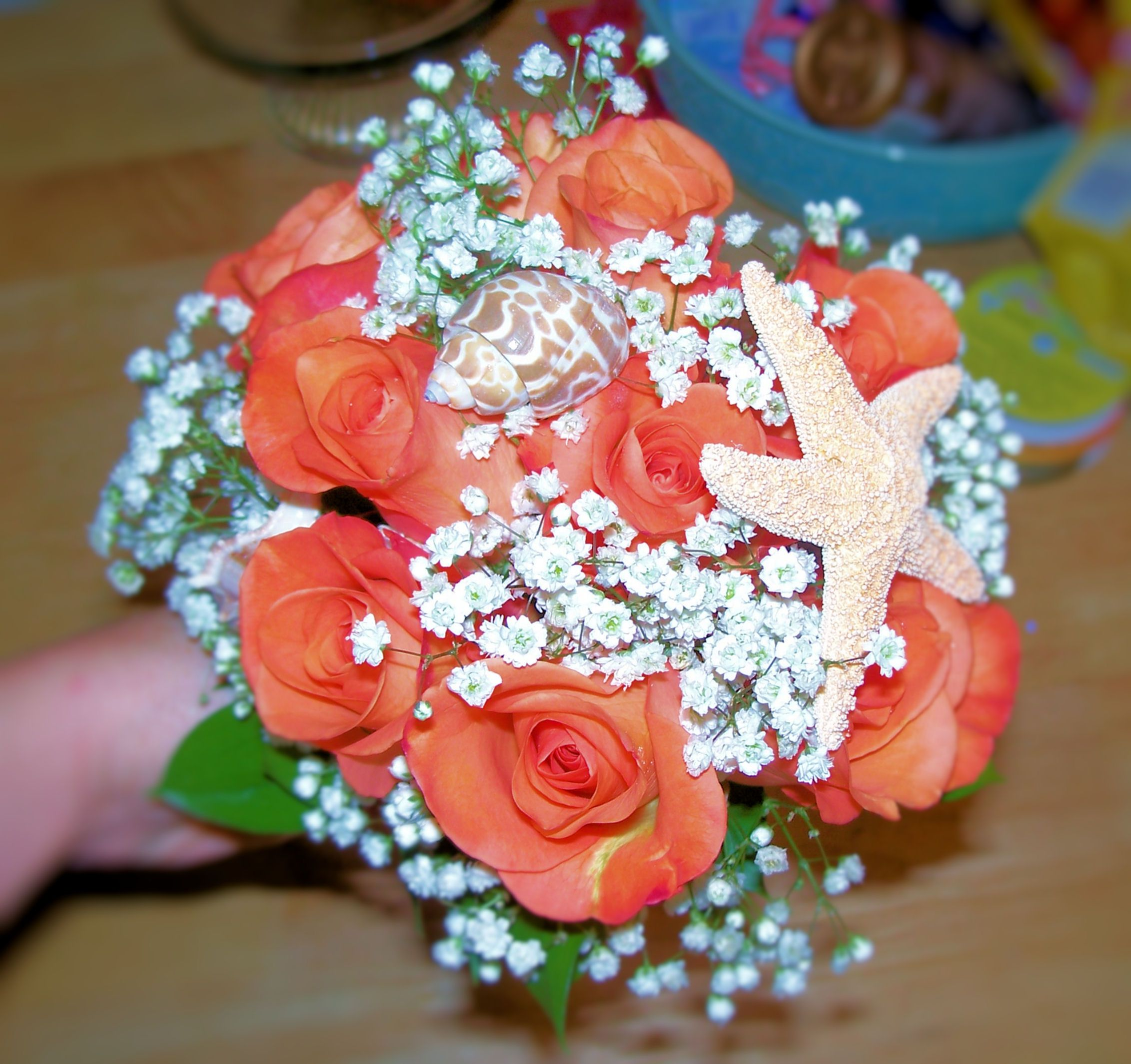 Wedding bouquets not flowers  coral bouquet with starfish  Wedding stuff   Pinterest