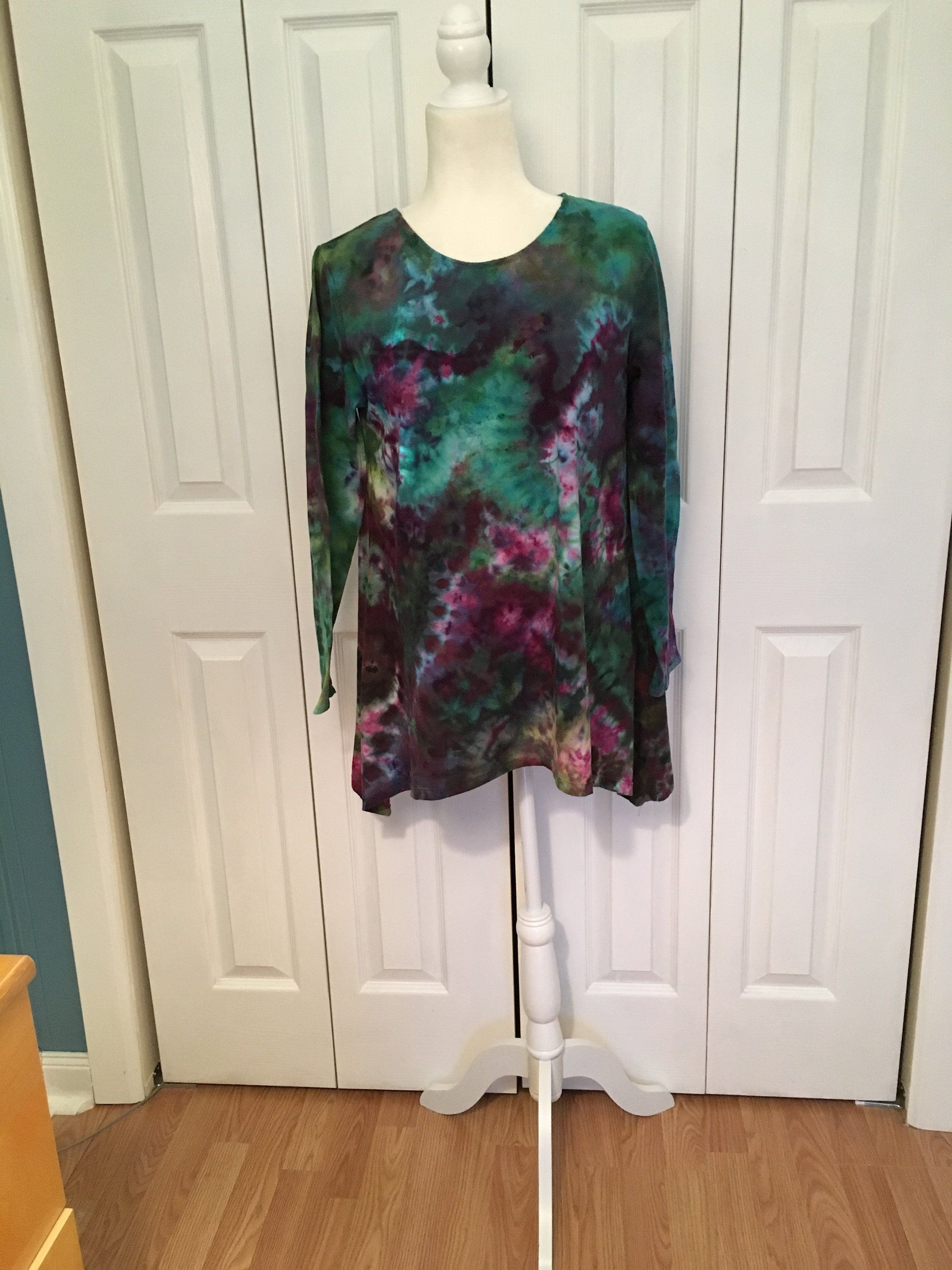 long sleeve top ice dyed in blue and black geode design in U.S Women/'s Tunic Top Women/'s  S M L XL 2X 3X Plus Sizes