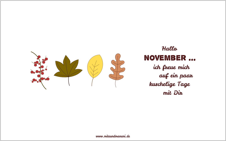 Ein neuer Desktophintergrund mit herbstlichen Blättern für den Monat November. #monatnovember