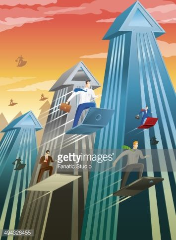 Stock Illustration : Businesspeople in an high tech city moving on gadgets towards their growth