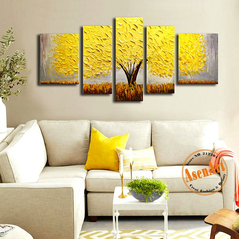 5Pcs Hand Painted Abstract Flower Tree Oil Painting On Canvas Captivating Living Room Paintings Decorating Inspiration