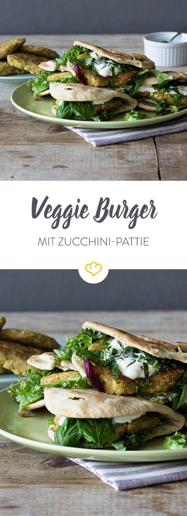 Zucchini burger in flatbread   - Go Veggie! - Vegetarische Rezepte -