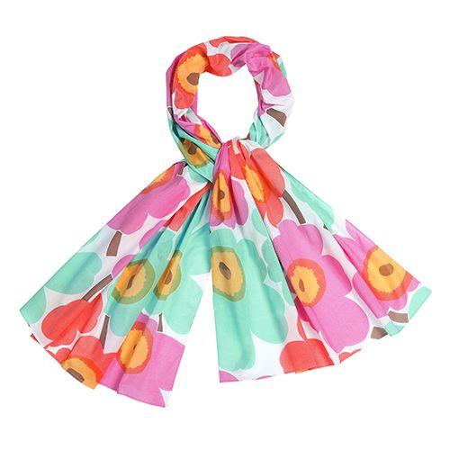 Poppies with pretty pastel hues. Marimekko Unikko White/Mint/Pink Scarf - Was: $65 Now: $52 (20% off)