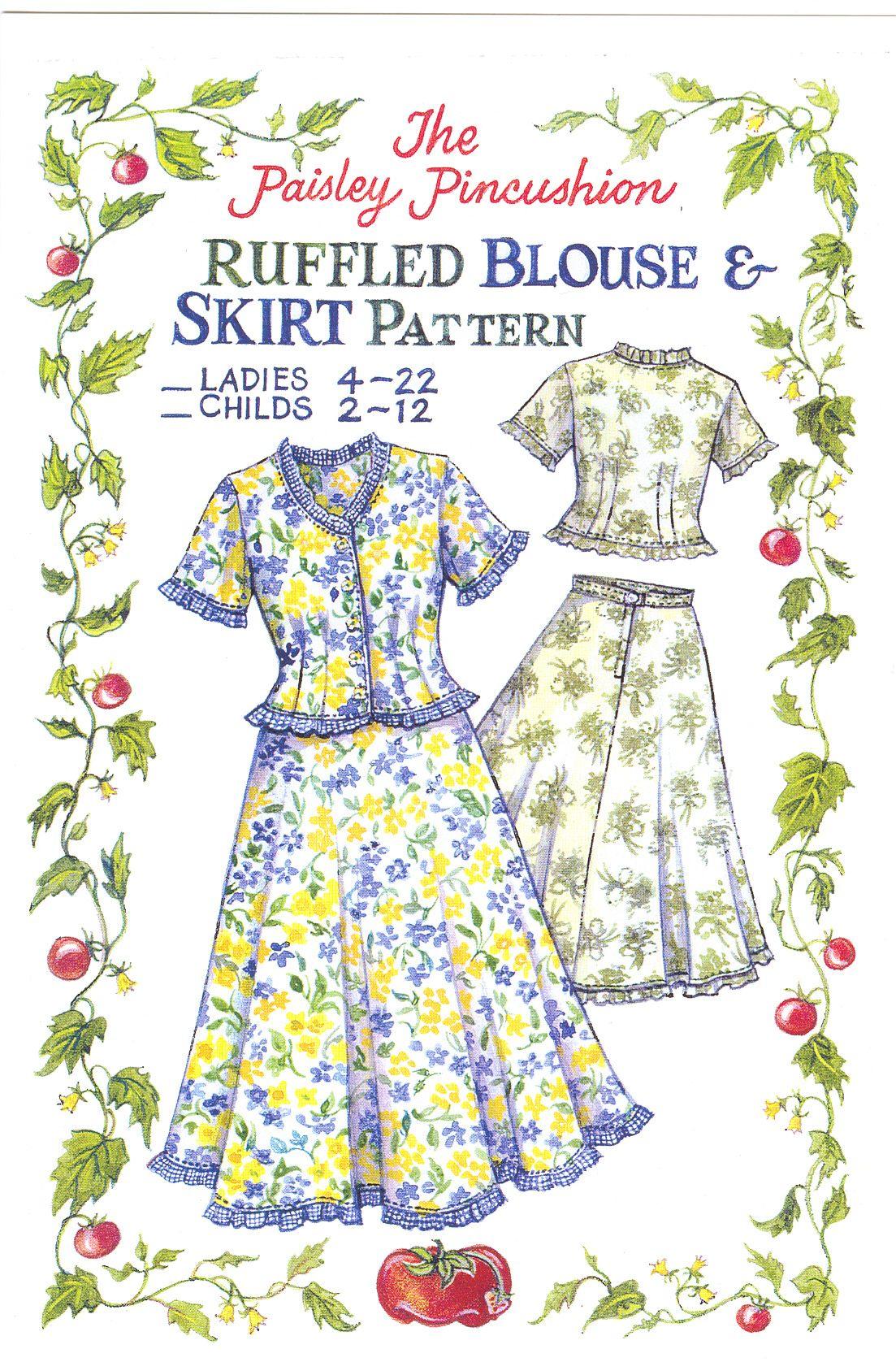 Ruffle Blouse and Skirt Pattern | Paisley Pincushion | Fabrics And ...
