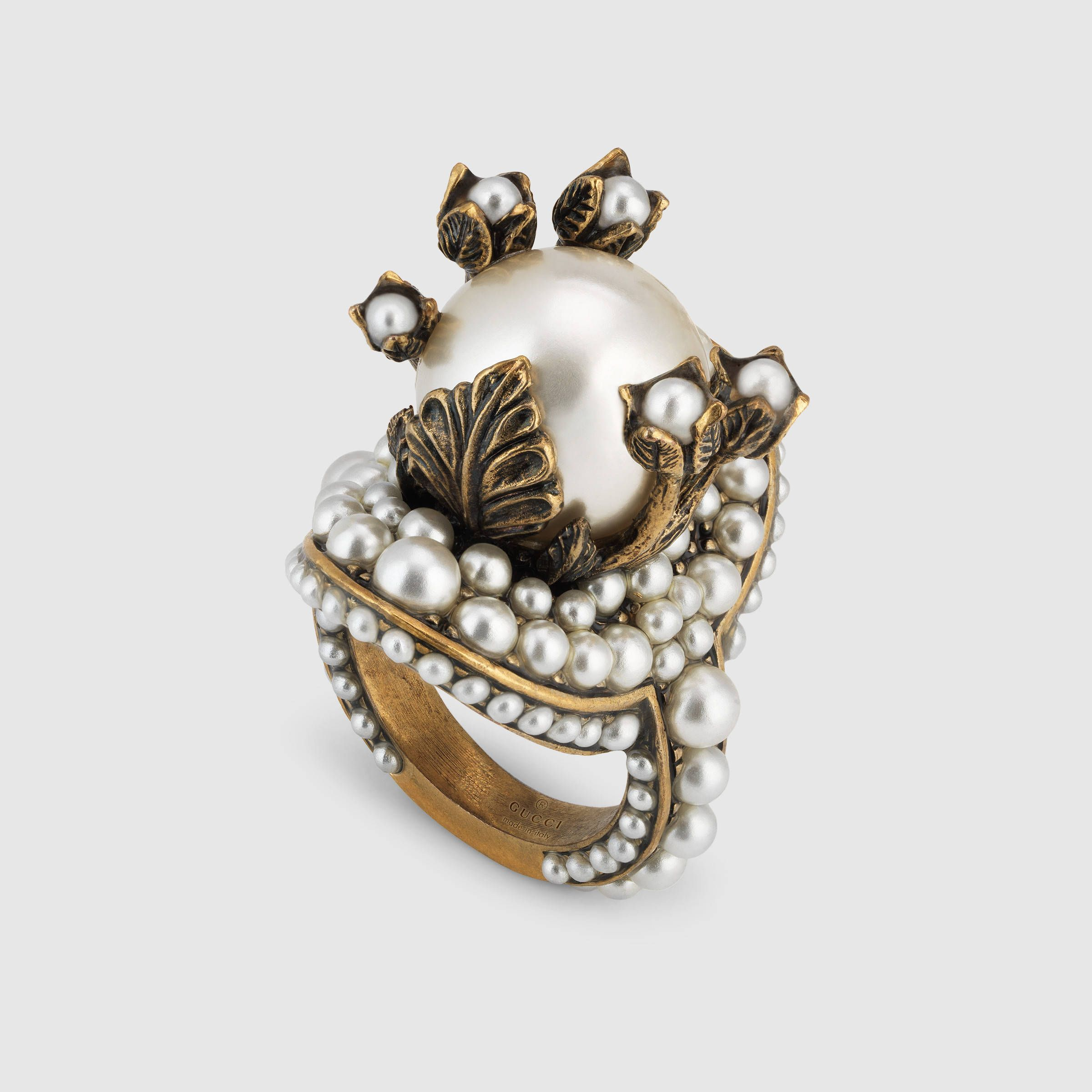 Flower ring with glass pearls | Gucci, Pearls and Ring