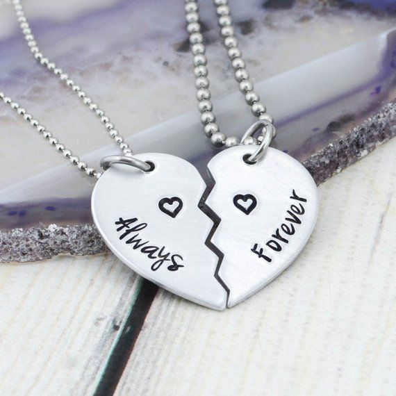 2f071de5b9 Hand Stamped Couples Jewelry - Personalized Couple Necklace - Always  Forever Jewelry - Half Heart Ne